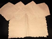8 (4 SMALL + 4 MED) ANTIQUE CREAM FINE SILKY LINEN TABLE PROTECTORS EMBROIDERED